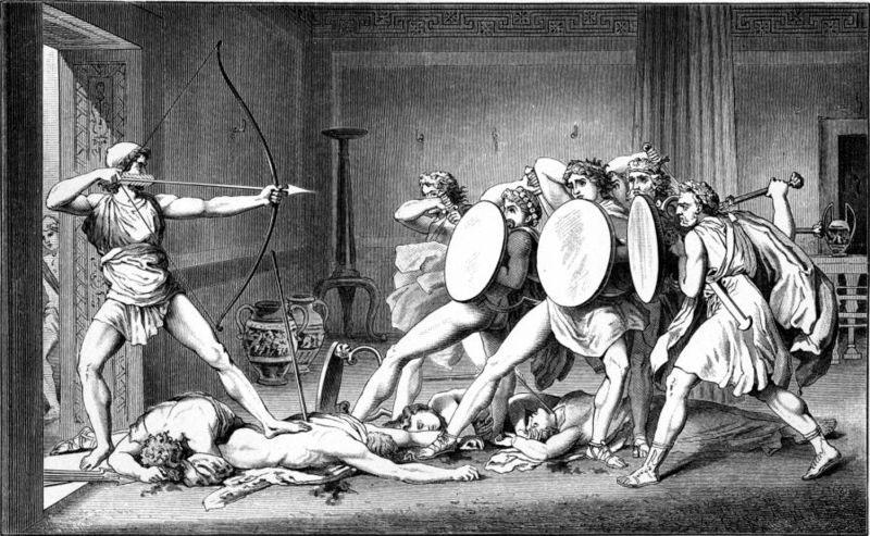 """""""La strage dei pretendenti"""", di Gustav Schwab. Narrativamente Ulisse può essere considerato il primo eroe moderno."""