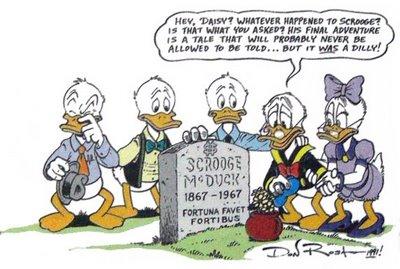 Don immaginò anche la morte di Paperone, fissandola nel 1967, anno dell'ultima storia di Barks.